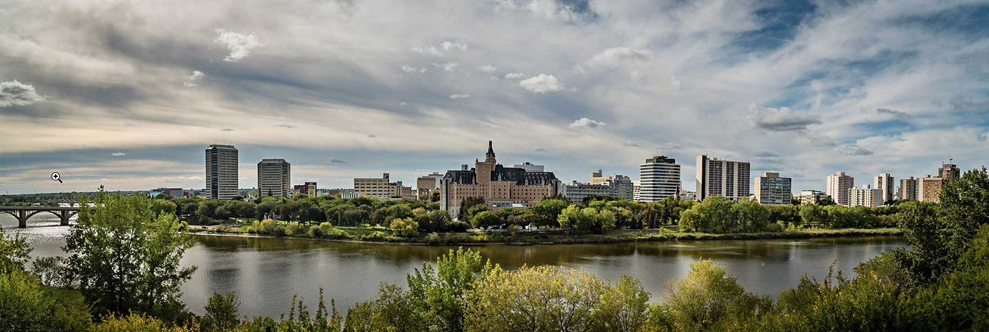 Pano image of downtown Saskatoon by Gene Pavelich Photography